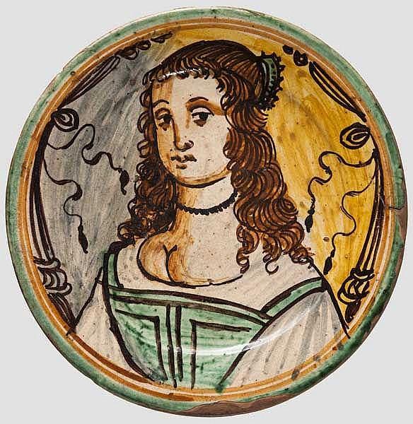 Majolika-Teller, Italien, wohl Montelupo, 1. Hälfte 17. Jhdt.