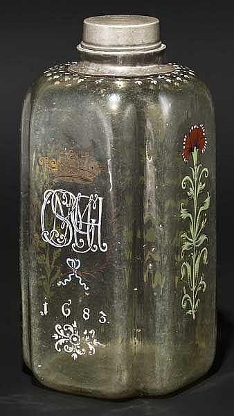 Barocke Flasche mit Emailledekor, Sachsen, datiert 1683
