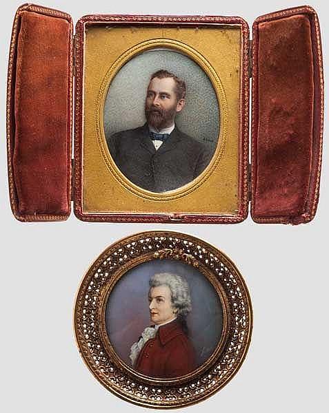 Zwei Portrait-Miniaturen, 19. Jhdt.