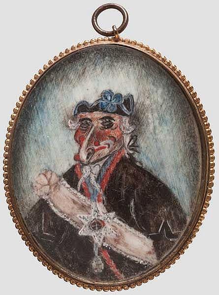 Karikatur-Miniatur, englisch um 1800