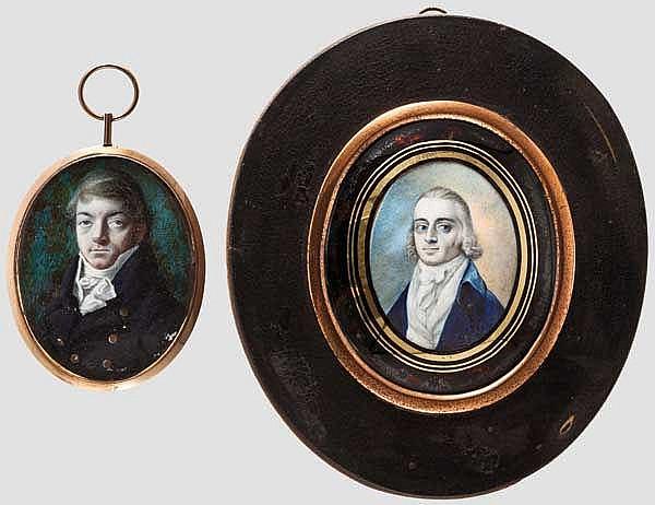 Zwei Portrait-Miniaturen, englisch um 1800
