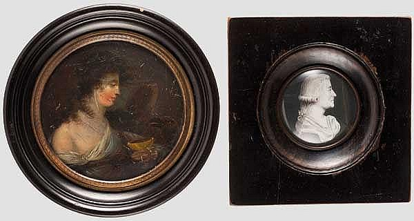 Miniaturgemälde und Grisaille-Portrait um 1800 bzw. Ende 18. Jhdt.