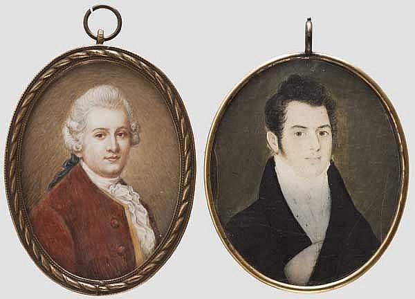 Zwei Portrait-Miniaturen, Ende 18. Jhdt. bzw. um 1800