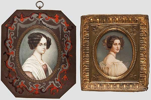 Zwei Portrait-Miniaturen, 1. Drittel 19. Jhdt.