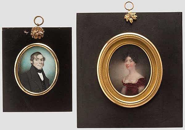 Zwei Portrait-Miniaturen, englisch, 1. Hälfte 19. Jhdt.