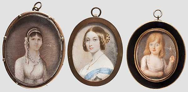 Drei Portrait-Miniaturen um 1800
