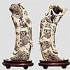 Geschnitzte Elfenbein-Figuren des Gottes Sau und einer Hofdame, Japan um 1900