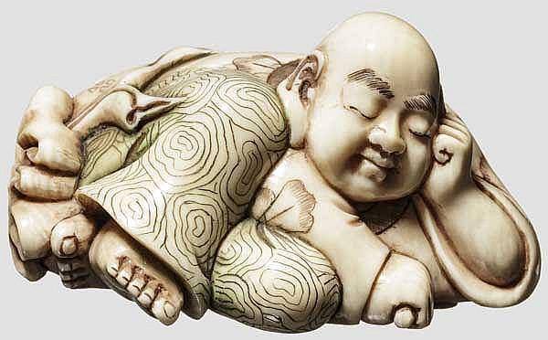 Okimono des Glücksgottes Hotei, Taisho-Periode