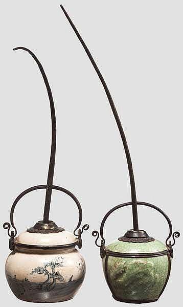 Zwei Opium-Wasserpfeifen, China, 19. Jhdt.