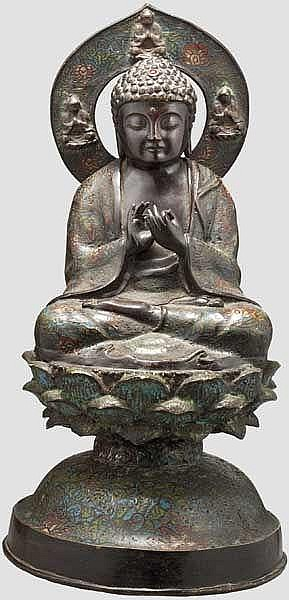 A Chinese cloisonné figure of Dharmachakra Mudra Buddha, 19th century