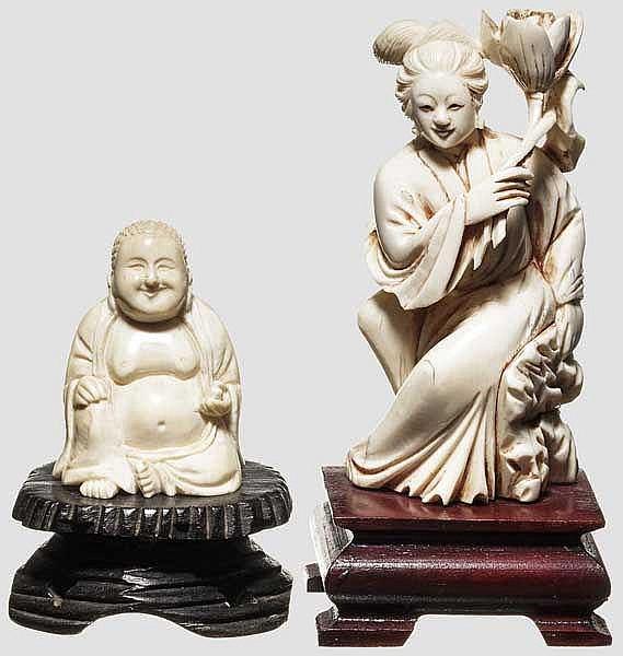 Zwei Elfenbeinfiguren, China, 19./20. Jhdt.