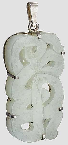Jadeplatte mit Silberfassung, China, 20. Jhdt.