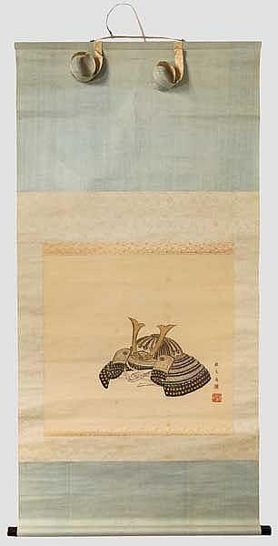 Rollbild mit Darstellung eines Kabuto, Japan, Meiji-/Taisho-Periode