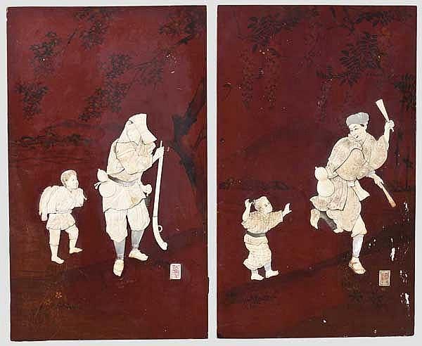 Ein Paar Lackbilder, Japan, Meiji-Periode