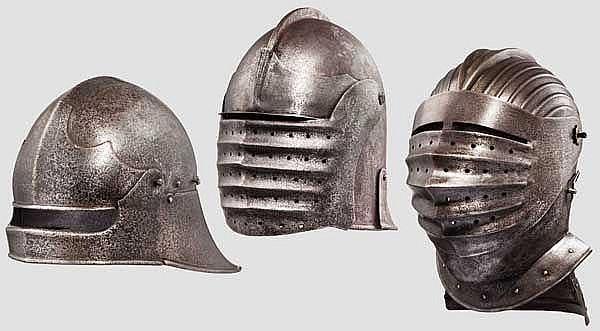 Drei Helme, Sammleranfertigungen im Stil des 15. und 16. Jhdts.