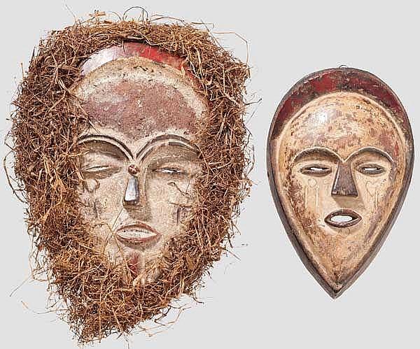 Zwei Gesichtsmasken der Tsogo, Gabun