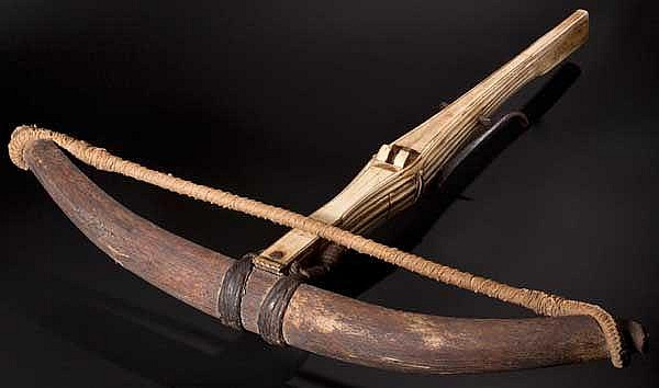 A German late-Gothic crossbow with horn prod, the tiller entirely covered in bone inlays, circa 1500