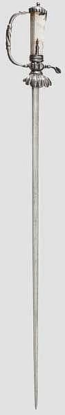 Eisengeschnittener Jagddegen mit Achatgriff, deutsch um 1700