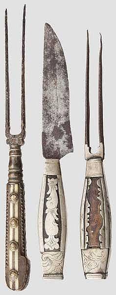 Drei Teile von Fuhrmannsbestecken, alpenländisch um 1800