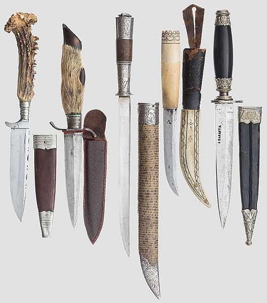 Fünf Dolche und Messer, 18. - 20. Jhdt.