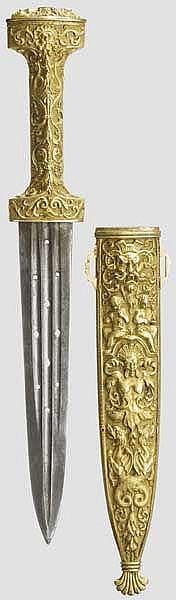 Vergoldeter Dolch, Historismus im Stil des 16. Jhdts.