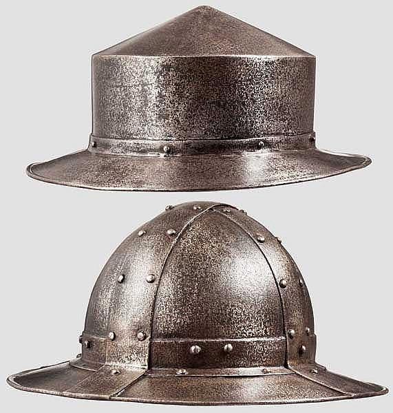 Zwei Eisenhüte, Sammleranfertigungen im Stil des 14. Jhdts.
