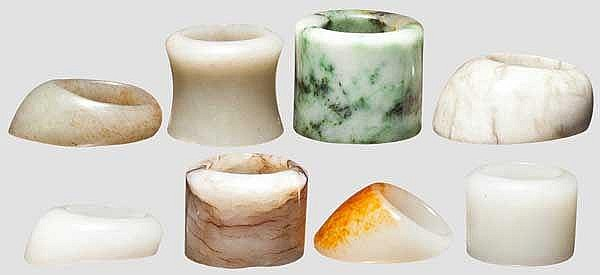 Eight archer's rings in jade and hardstone, China, Qing dynasty