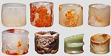 Eight archer's rings in jade and hardstone, China, Ming/Qing dynasty