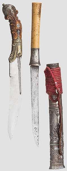 Piha Kaetta und ein silbermontierter Dha, Ceylon bzw. Burma um 1900