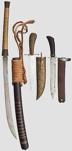 Dha und zwei Messer, Burma/Indien, 19./20. Jhdt.