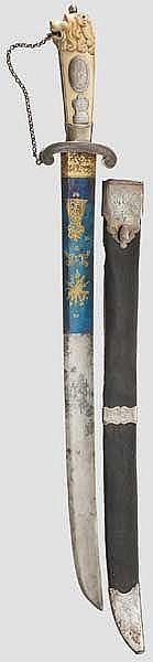 Silbermontierte Jagdplaute mit Elfenbeingriff, Erfurt, Sachsen, datiert 1784