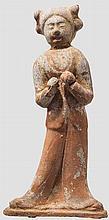 Keramik-Figurine einer stehenden Dame, China, Tang-Periode