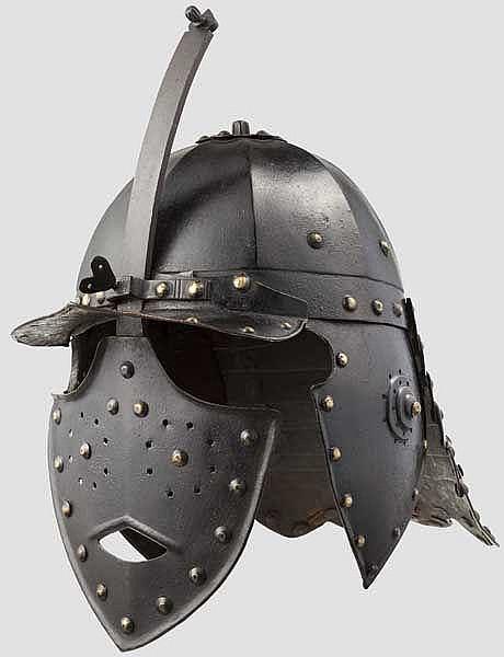 A heavy lobster-tailed helmet, Poland, mid-17th century