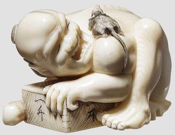 Netsuke eines Rattenfängers, Meiji-Periode
