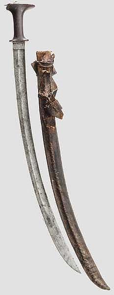 Shotel mit Rhinozeroshorngriff, Äthiopien, Ende 19. Jhdt.