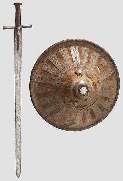 Kaskara und silberbeschlagener Schild, Sudan um 1900