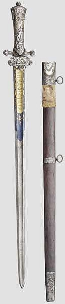 Silbermontiertes Jagdschwert, spanisch um 1760