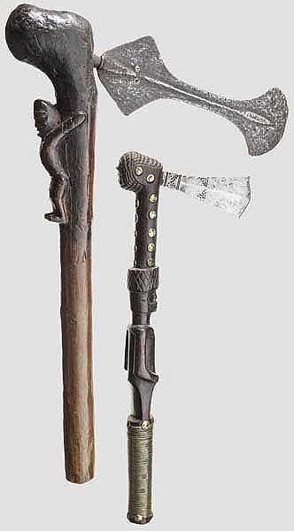 Zwei Beile der Songe bzw. Tschokwe, Afrika