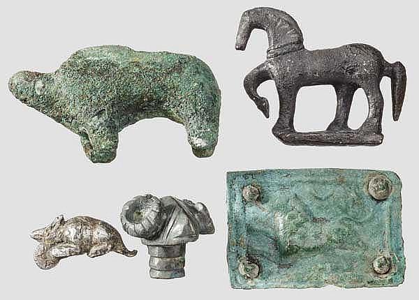 Fünf Tierkleinplastiken, keltisch, skythisch und römisch