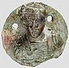 Medaillonartige Bronzeapplik mit Kaiserbüste, römisch, 3. Jhdt.