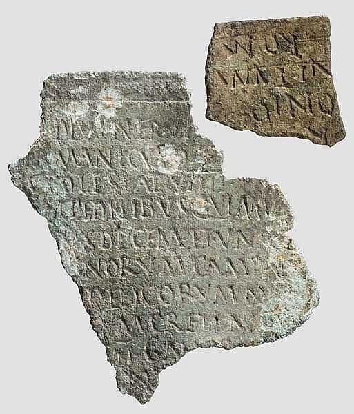 Zwei Fragmente von römischen Militärdiplomen, frühes 2. Jhdt. n. Chr.
