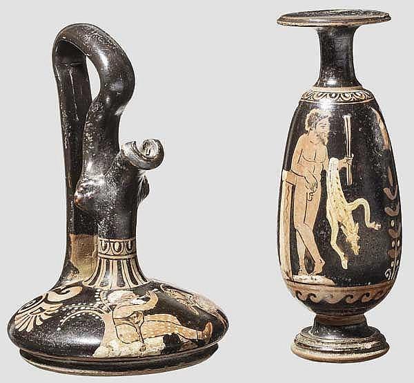 Hochwertige Kopien apulischer Keramik des späten 4. Jhdts. v. Chr., Epichysis und Alabastron