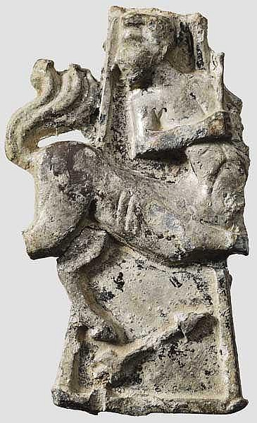 Griffabschluss von römischem Silbergefäß mit Zentaur, 1. Jhdt. v. Chr.