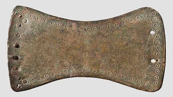 Bronzeplatte mit Tierdarstellungen, iranisch, frühes 1. Jtsd. v. Chr.