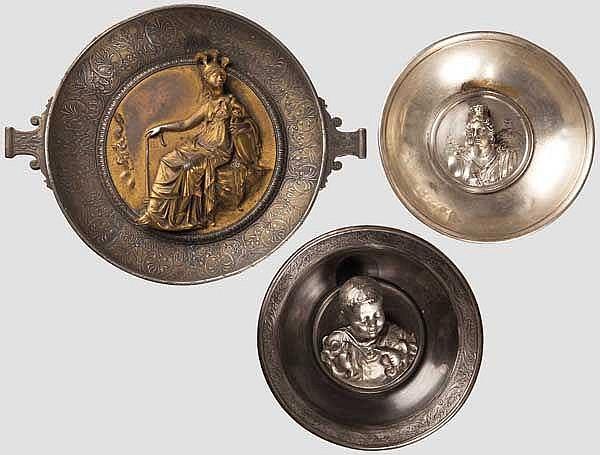 Drei Repliken nach den Funden des Hildesheimer Silberschatzes, deutsch und französisch um 1870