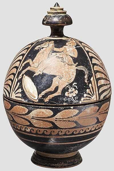 Hochwertige Kopie einer apulischen, eiförmigen Pyxis des späten 4. Jhdt. v. Chr.