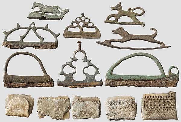 Acht spätmittelalterliche und frühneuzeitliche Feuerschläger und acht Feuersteine