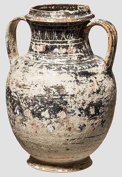 Gnathische Amphore, Boden rituell antik durchstoßen, ca. 200 v. Chr.