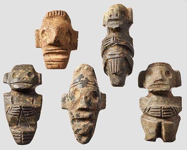 Fünf Kleinskulpturen, Taino-Kultur, Karibik, 11. - 15. Jhdt.
