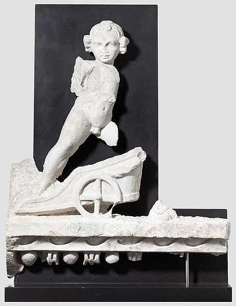 A Roman erote in a biga drawn by big cats, Roman marble relief, 2nd half of the 2nd century